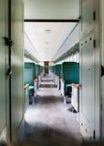 Interior passenger train car. Inside of an old passenger train car Stock Images
