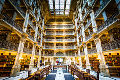 The interior of the Peabody Library, in Mount Vernon, Baltimore, Maryland. royalty free stock image