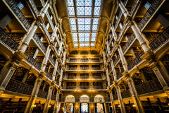 The interior of the Peabody Library, in Mount Vernon, Baltimore, Royalty Free Stock Photo