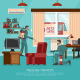 Interior Pest Control Treatment Flat Advertisement Poster Royalty Free Stock Image