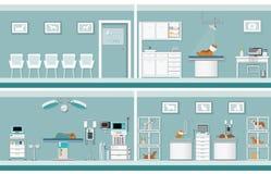 Interior of pet clinic. Interior of pet clinic, animal health care conceptual vector illustration Royalty Free Stock Photos