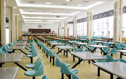 Interior photo of empty restaurant. There are rows of chairs and desks,taken in a universtiy dinning hall in China Stock Images