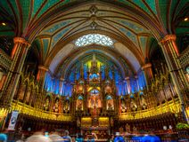 Notre Dame Basilica, interior, Montreal, QC, Canada. royalty free stock photo
