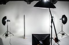 The interior of the photo studio. Preparing to work with photographic equipment. Cyclorama, background, exposure to light on the