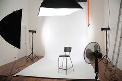 Interior of photographic studio Royalty Free Stock Images