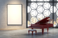 Interior with piano and billboard Royalty Free Stock Photos