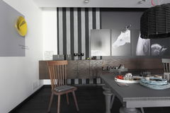 Interior with pictures of the horses on the monochrome wall Stock Photography