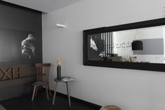 Interior with pictures of the horses on the monochrome wall Royalty Free Stock Images
