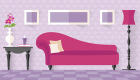 Interior with pink couch in flat style. Royalty Free Stock Photo