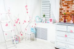 Interior with pink hearts Royalty Free Stock Photo