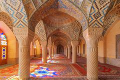 The interior of Pink Mosque. Royalty Free Stock Photos