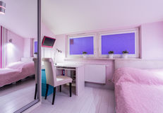 Interior of pink room with bed Royalty Free Stock Image