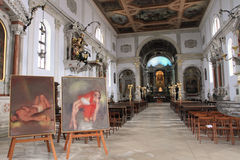 Interior of Piran Cathedral Royalty Free Stock Image