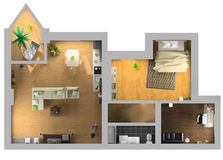 Interior plan. Modern interior on the top view (private apartment 3d rendering Stock Photos