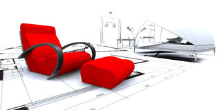 Interior planning. 3D furniture in a blueprint interior Royalty Free Stock Photo