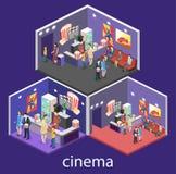 Interior plano isométrico 3D del pasillo que espera del cine Fotografía de archivo libre de regalías