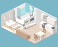 Interior plano isométrico del concepto 3D de apartamentos-estudios ilustración del vector