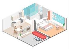 Interior plano isométrico del concepto 3D de apartamentos-estudios Imagen de archivo