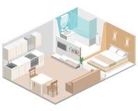Interior plano isométrico del concepto 3D de apartamentos-estudios stock de ilustración