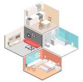Interior plano isométrico del concepto 3D de apartamentos-estudios Fotografía de archivo libre de regalías