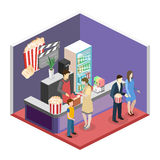 Interior plano isométrico del concepto 3D del pasillo que espera del cine Imagenes de archivo