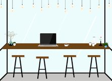 Interior plano moderno de la cafetería del diseño Trabajo en café Ilustración del vector Fotos de archivo