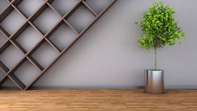 Interior with plant. 3D illustration Royalty Free Stock Image