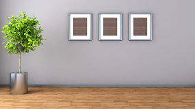Interior with plant and picture. 3D illustration Royalty Free Stock Images