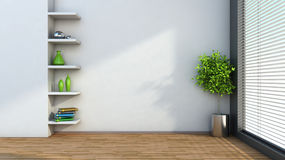 Interior with plant and shelf. 3D illustration Stock Images