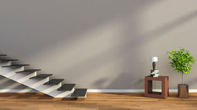 Interior with plant and stair. 3D illustration Royalty Free Stock Photography
