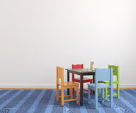 Interior of playroom. Colorful playroom interior with small table and four bright chairs. 3d render