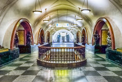 Interior of Ploshchad Revolyutsii subway station in Moscow, Russ Royalty Free Stock Images