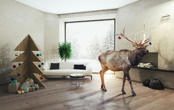 Interior with plywood Christmas tree and the deer. 3d concept Stock Photo