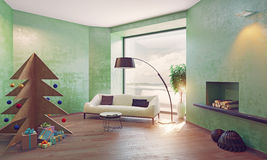 Interior with plywood Christmas tree. Home on the coast interior with plywood Christmas tree. 3d concept Royalty Free Stock Image