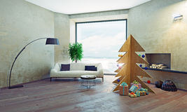 Interior with plywood Christmas tree Royalty Free Stock Photo