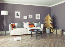 Interior with plywood Christmas tree Stock Images