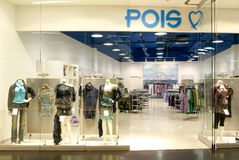 Interior of Pois fashion clothes store Stock Photography