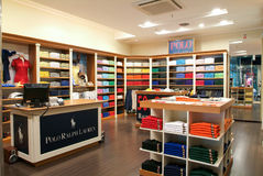 Interior of Polo fashion clothes store Stock Image
