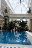 Interior with pool. Beige interior with a pool. The big shop royalty free stock photos