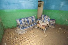 Interior of poor African house following flooding disaster Stock Images