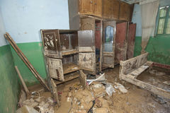 Interior of poor African house following flooding disaster Stock Photo