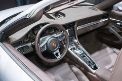 Interior of Porsche 911 Turbo. Frankfurt-September 20: Interior of Porsche 911 Turbo at the Frankfurt International Motor Show on September 20, 2017 in Frankfurt Royalty Free Stock Images