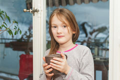 Interior portrait of a cute little girl Royalty Free Stock Photo