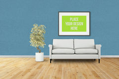 Interior Poster Frame Mock-Up. Royalty Free Stock Images
