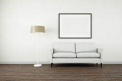 Interior Poster Frame Mock-Up. Royalty Free Stock Photo