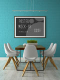 Interior with poster mock up 3D rendering Stock Photos