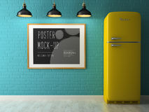 Interior with poster mock up 3D rendering Stock Photography