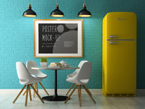 Interior with poster mock up 3D rendering Royalty Free Stock Images