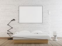 Interior poster mock up with horizontal frame on the wall in home bedroom interior. vector illustration