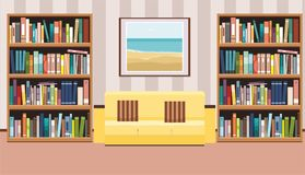 Interior with a poster, sofa with pillows and bookshelf. Flat vector illustration Royalty Free Stock Images